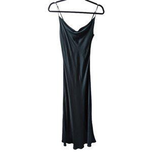 Zara Slip Maxi Green cowl neckline Dress sz: XS